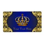 Étiquette Bouteille d'eau de prince baby shower d'or de bleu