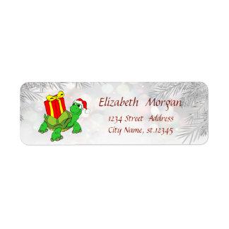 Étiquette Branches d'arbre de Noël, tortues, casquette de