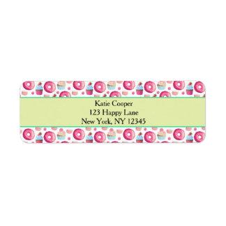 Étiquette Butées toriques Macarons et motif de petit gâteau