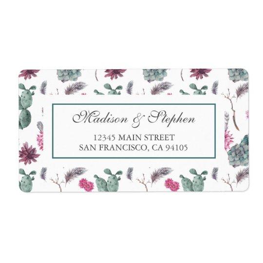 Étiquette Cactus de Boho, succulent et floral - mariage