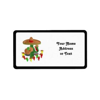 Étiquette Cactus de fiesta avec des poivrons de guitare et