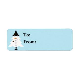 Étiquette Cadeau Lables de bonhomme de neige d'arbre de Noël