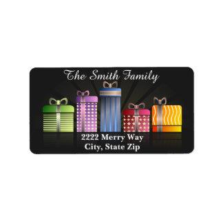 Étiquette Cadeaux colorés de Noël sur l'étiquette de adresse