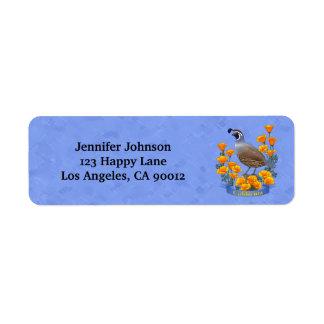 Étiquette Cailles d'oiseau d'état de la Californie et pavot