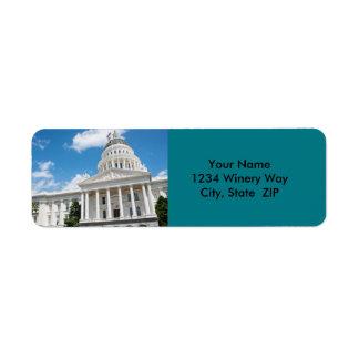 Étiquette Capitol d'état de Sacramento de la Californie