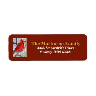 Étiquette Cardinal dans l'adresse de retour de vacances de