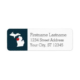 Étiquette Carte de ville de l'État d'origine du Michigan -