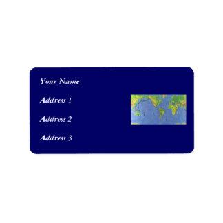 Étiquette Carte physique du monde 1994 - plaques tectoniques