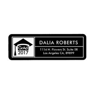 Étiquette Casquette noir et blanc de diplômé et cadre