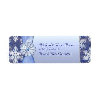 Étiquette Célébration bleue en cristal de flocon de neige