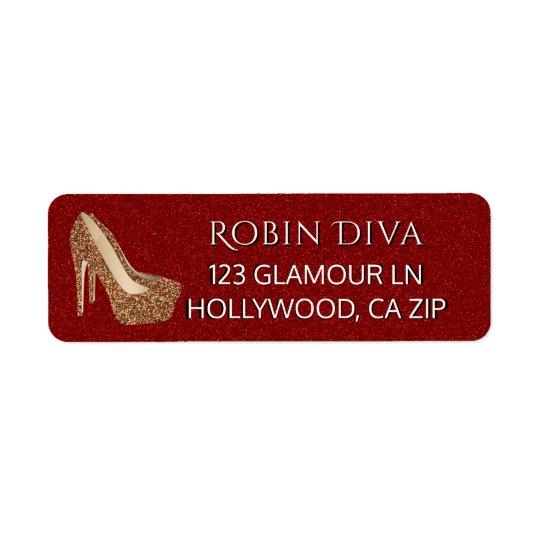 Étiquette Chaussures fascinantes rouges de talon haut d'or