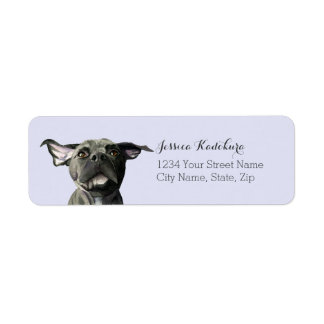 Étiquette Chien noir de pitbull avec l'aquarelle ondulée