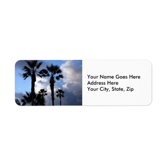 Étiquette Ciel bleu et palmiers