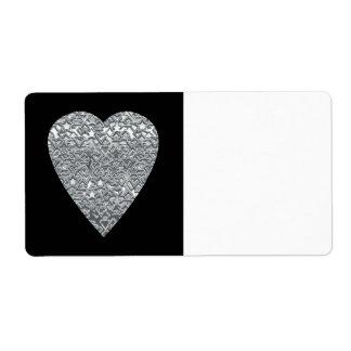 Étiquette Coeur. Modèle gris gris-clair et mi imprimé