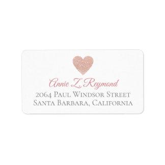 Étiquette coeur rose d'étiquette de adresse manuscrit de