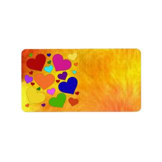 Étiquette Coeurs de Valentine d'arc-en-ciel