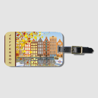 Étiquette colorée de bagage de canal de ville étiquettes bagages