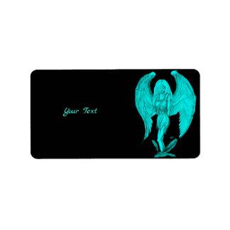 Étiquette Conception d'ange, de noir et de vert