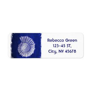 Étiquette coquillage blanc bleu côtier botanique vintage