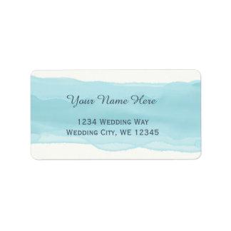 Étiquette Courses par aquarelle de pinceau de bleu de ciel