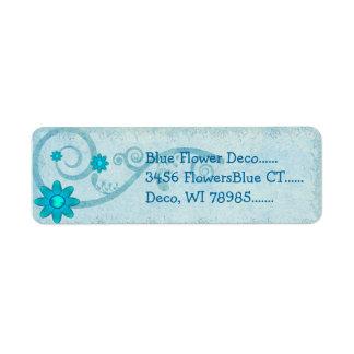 Étiquette COUTUME bleue de Deco de fleur