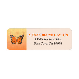 Étiquette Coutume orange de papillon d'Ombre et de points