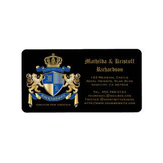 Étiquette Créez votre propre manteau d'emblème bleu de lion