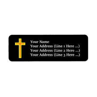 Étiquette Croix chrétienne noire/de couleur orange