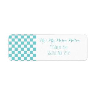 Étiquette Damier turquoise de ciel géométrique