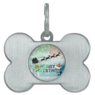 Étiquette d'animal familier de Joyeux Noël et de Médaillons Pour Chien Et Chat