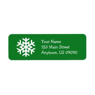 Étiquette de adresse B (vert) de flocon de neige