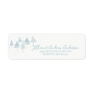 Étiquette de adresse bleu d'arbres de Noël
