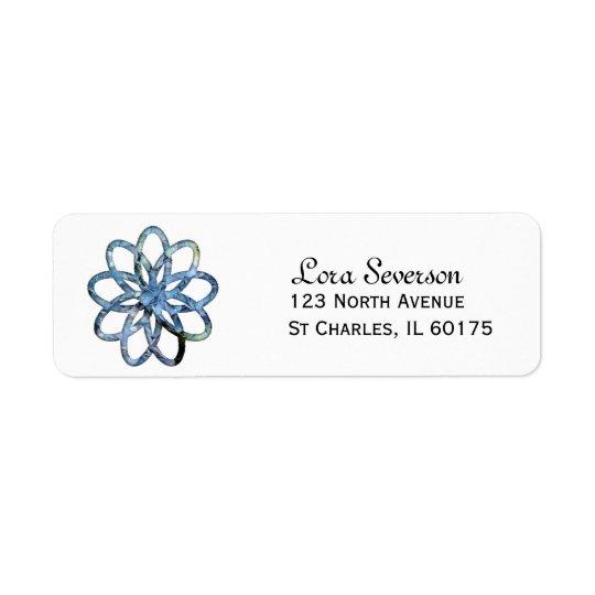 Étiquette de adresse bleu de retour de fleur