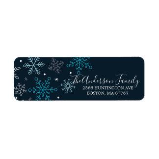 Étiquette de adresse bleu élégant de Noël de