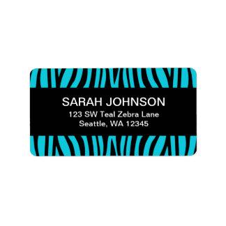 Étiquette de adresse bleu et noir turquoise de ret