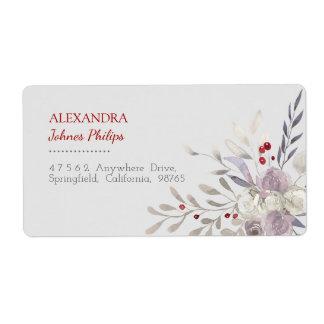 Étiquette de adresse botanique d'aquarelle florale