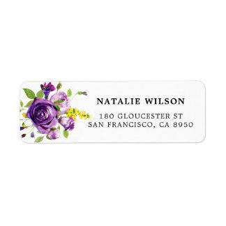 Étiquette de adresse botanique de roses pourpres