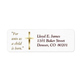 Étiquette de adresse chrétien de retour de croix