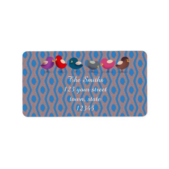 Étiquette de adresse coloré mignon d'oiseaux de