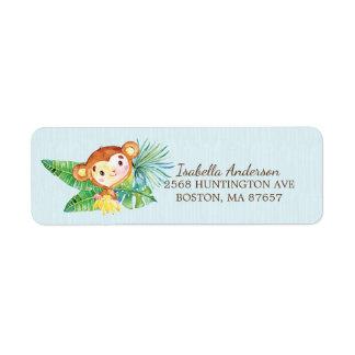 Étiquette de adresse de baby shower de singe de