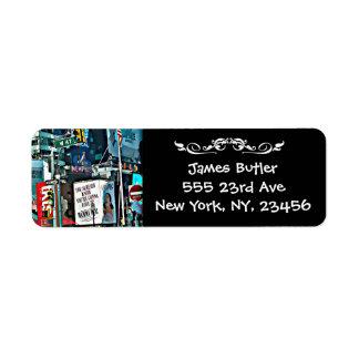 Étiquette de adresse de expédition de New York Étiquettes D'adresse Retour