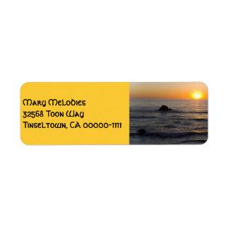 Étiquette de adresse de jaune de coucher du soleil