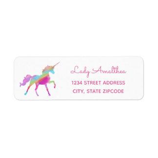 Étiquette de adresse de licorne d'arc-en-ciel