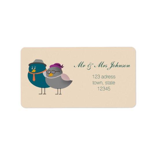 Étiquette de adresse de M. et de Mme Cute Birds