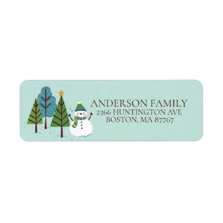Étiquette de adresse de Noël de bonhomme de neige