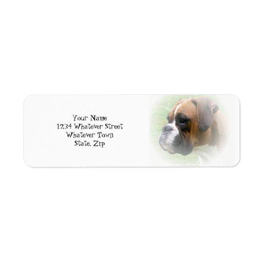 Étiquette de adresse de retour de chien de boxeur