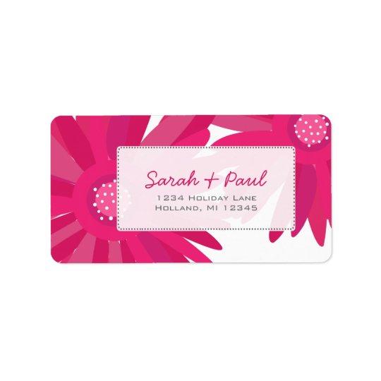 Étiquette de adresse de retour de fleurs roses de