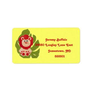 Étiquette de adresse de retour de lion de jungle