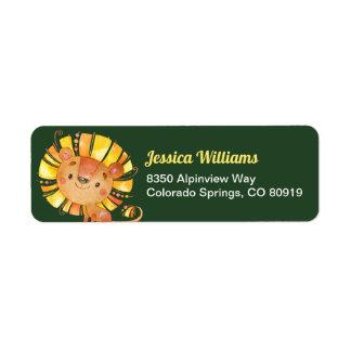 Étiquette de adresse de retour de lion de safari