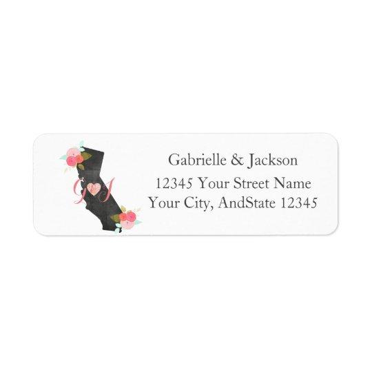 Étiquette de adresse de retour de monogramme